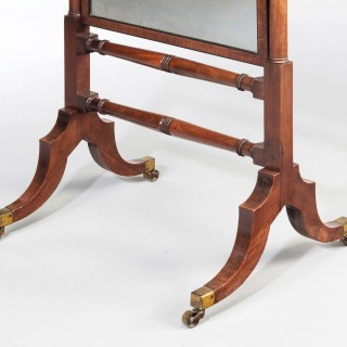 George III Period Mahogany Cheval Mirror on Finely  Turned Supports