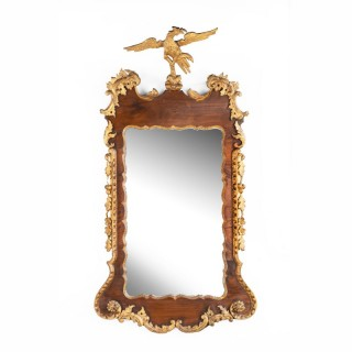 George II Period Mahogany and Parcel Gilt Mirror