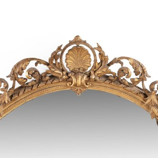 An Unusually Large 19th Century French Oval Giltwood Mirror