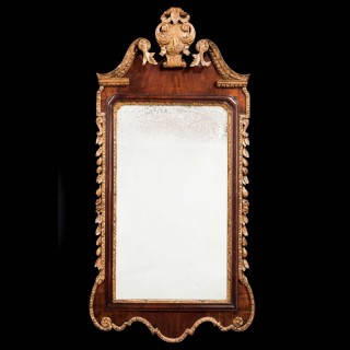 George II Period Walnut and Parcel Gilt Mirror