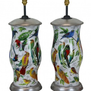 A PAIR OF HAND PAINTED DECLAMANIA LAMPS DEPICTING TROPICAL BIRDS