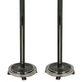 A PAIR OF ART DECO STYLE SILVER & SHAGRIN FLOOR LAMPS