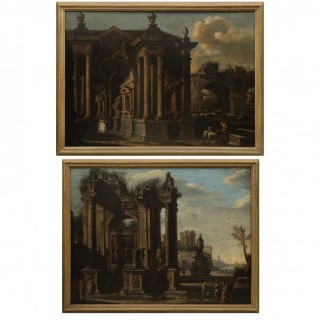 A PAIR OF ARCHITECTURAL CAPRICCI , ATTRIBUTED TO GIOVANNI GHISOLFI (MILAN 1632-1683)