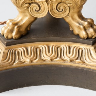 LARGE EMPIRE GILT AND PATINATED BRONZE TABLE LAMP WITH SERPENT DECORATION
