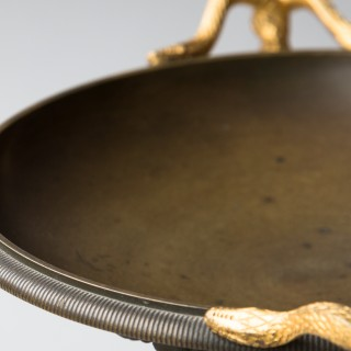 RESTAURATION PERIOD GILT AND PATINATED BRONZE TAZZA URN