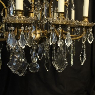 French 19thC Bronze & Crystal 18 Light Chandelier