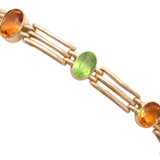 5.19 ct Citrine and 3.72 ct Peridot, 9 ct Yellow Gold Gate Bracelet - Antique 1899