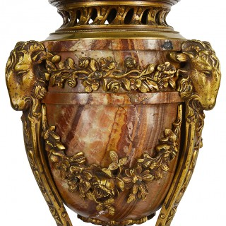 Pair 19th Century marble and ormolu urns.