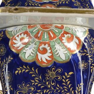 Large Masons iron stone pagoda lidded vase. 19th Century 150cm (59