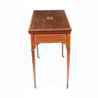Antique Edwardian Flame Mahogany & Inlaid Card Games Table c.1900