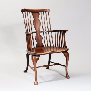 George III Walnut and Sycamore Comb-Back Windsor Chair