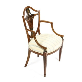 Antique Victorian Sheraton Revival Painted Satinwood Armchair 19th C