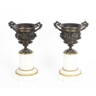 Antique Pair Bronze Ormolu Marble Pedestal Urns Auguste Nicolas Cain 19thC C1850
