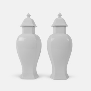 A Pair of Limoges Blanc de Chine Porcelain Temple jars
