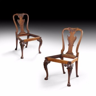 George I Carved Irish Walnut Pair of Chairs