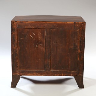George III Sheraton Period Bow-Fronted Caddy Topped Mahogany Chest of Drawers