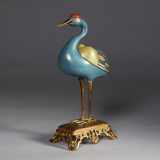 Chinese Cloisonné Enamel Censer Modelled as a Crane Qing Dynasty