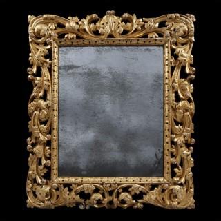 Charles II Giltwood Mirror with Asymmetrical Foliate Scrolls and Leaf Boarder