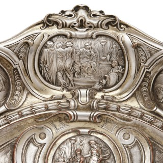 Victorian silver-plated platter by Elkington & Co.