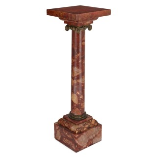 Gilt bronze and red marble Ionic column
