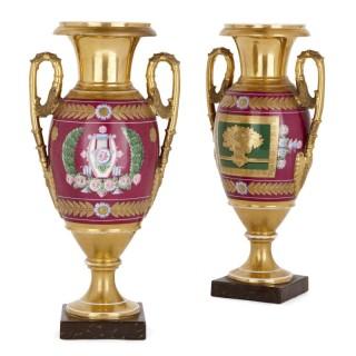 Pair of Napoleonic period porcelain vases