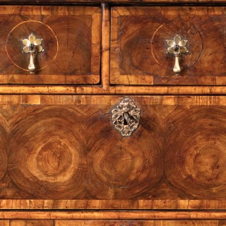 17th Century William and Mary Olive Oyster Chest on Stand