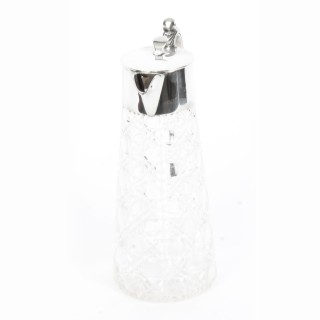 Antique Edwardian Sterling Silver and Cut Crystal Claret Jug Marples & Co 1907