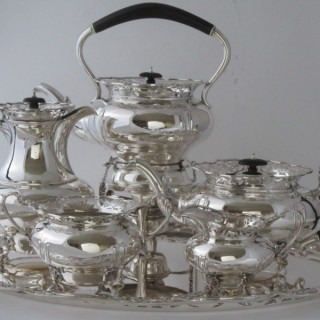 Antique George V Sterling silver tea set on tray