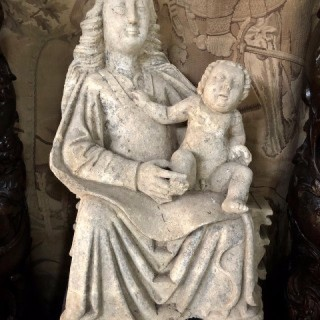 C1400 Limestone Sculpture Of Seated Madonna