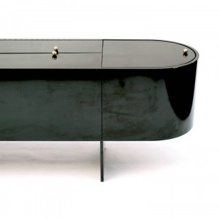 Luigi Saccardo 'Parentesi' Black Lacquered Bar 8 Feet Long by Arrmet Italy 1976