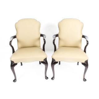 Antique set of 10 Queen Anne Revival Dining Chairs Armchairs Circa 1900