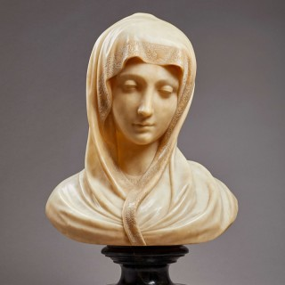 A Fine Alabaster Bust of the Madonna, Italian, late 19th century