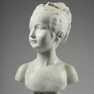 Late 19th Century Marble bust of a Girl, After Jean-Antoine Houdon
