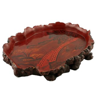 Japanese Lacquered Root Wood Tray