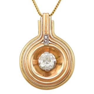 1.72 ct Diamond, 18 ct Tri-Gold Pendant - Art Deco - Antique Circa 1900 & Vintage Circa 1940