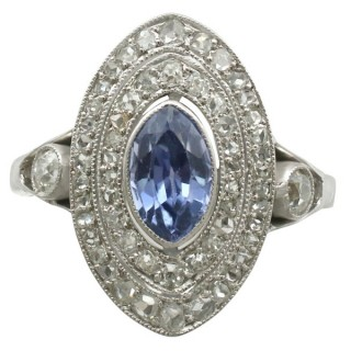 0.59 ct Sapphire and 0.65 ct Diamond, 18 ct White Gold Marquise Ring - Antique French Circa 1910