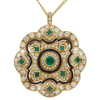 0.72 ct Emerald and 1.93 ct Diamond, Enamel and 18 ct Yellow Gold Pendant - Antique Circa 1920