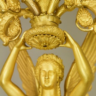 Large Pair of French Empire Ormolu Winged Female Victory Candelabras