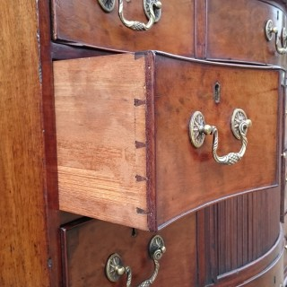 18th Century George III Period Mahogany Antique Tambour Fronted Serpentine Chest of Drawers