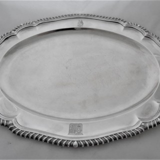 Superb armorial&crested Georgian silver platter London 1828 Benjamin Smith 62 ozs Archbishop of Canterbury