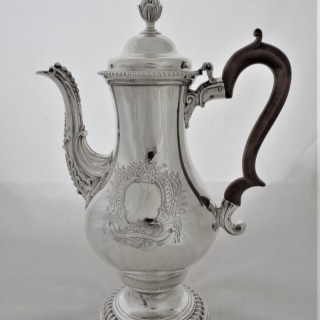 Superb large George III silver coffee pot London 1773 Charles Wright