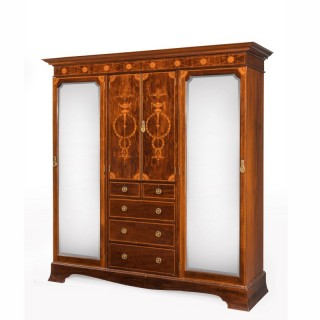 Sheraton Style Mahogany Wardrobe with Boxwood and Satinwood Inlay