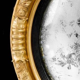 Regency Period Giltwood Convex Mirror