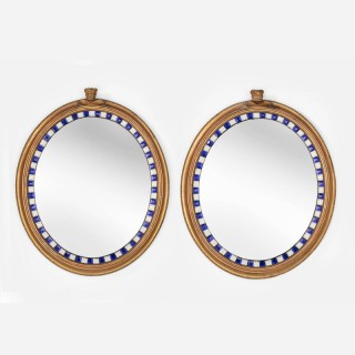 A Rare Pair of Early 19th Century Giltwood and Glass Mirrors by Samuel Jennings