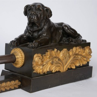 Empire Style Fireplace Fender With Mastiff Dogs