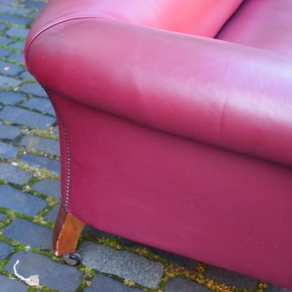 Victorian Burgundy Leather Chesterfield Sofa