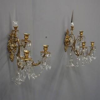 Pair of Brass and Cut Crystal Wall Sconces