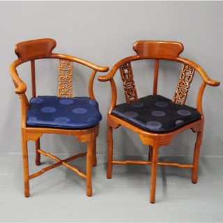 Pair of Chinese Red Hardwood Corner Chairs