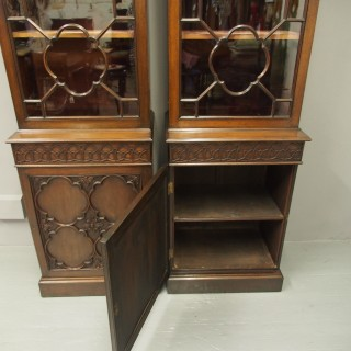 Pair of Georgian Style Mahogany Display Cabinets or Bookcases