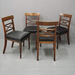 Set of 4 George III Mahogany Brass Inlaid Dining Chairs